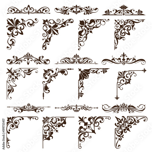 vintage floral ornaments design elements of corners frame border stickers vector set of damask patterns on white background buy this stock vector and explore similar vectors at adobe stock adobe stock vintage floral ornaments design