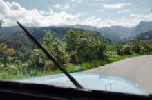 View From Interior Of Old Jeep On The Road To Cocora Valley In Salento, Colombia