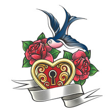 Swallow With Rose And Heart Ta...
