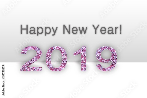 happy new year 2019 text calendar background 2019 numbers isolated