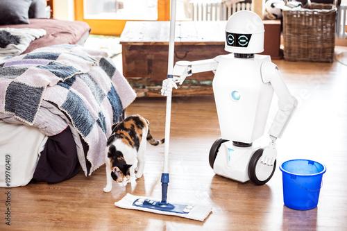 Leinwand Poster  Haushaltsroboter wischt den Boden