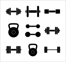 Different Gym Weights Icon Set...