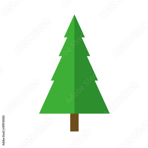 Symmetrical fir Christmas tree cartoon isolated vector icon on white  background - Symmetrical Fir Christmas Tree Cartoon Isolated Vector Icon On White