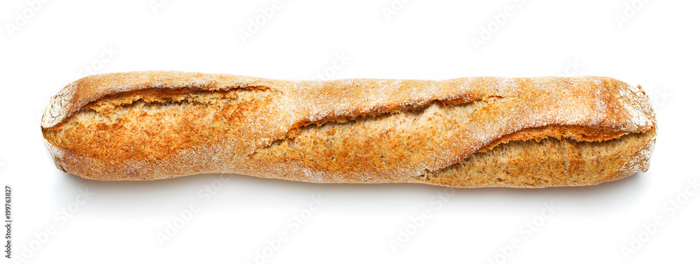 single loaf of french baguette isolated on white background