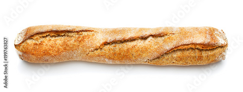 Deurstickers Brood single loaf of french baguette isolated on white background