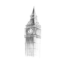 Big Ben Painted With A Pencil. Hand-drawn. Close Up. Isolated On White Background
