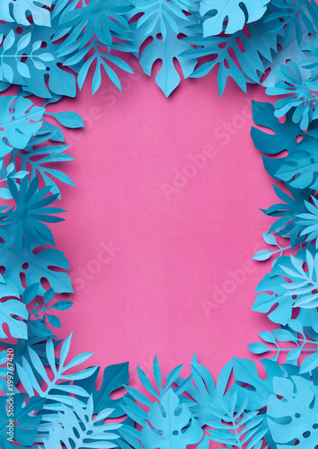 Spoed Foto op Canvas Bloemen 3d render, craft paper tropical leaves, pink blue floral background, square frame, decorative foliage, wild jungle, botanical wallpaper, digital illustration