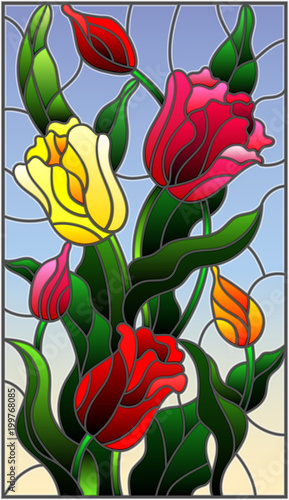 ilustracja-w-witrazu-stylu-z-bukietem-kolorowi-tulipany-na-niebie-b