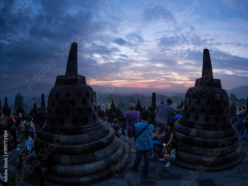 Foto op Plexiglas Bedehuis The Borobudur temple at sunrise