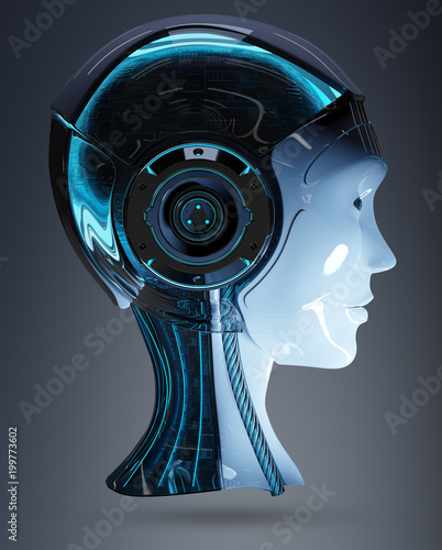 Tuinposter Fietsen Cyborg head artificial intelligence 3D rendering