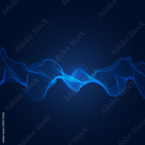 abstract blue digital frequency equalizer, sound wave pattern element