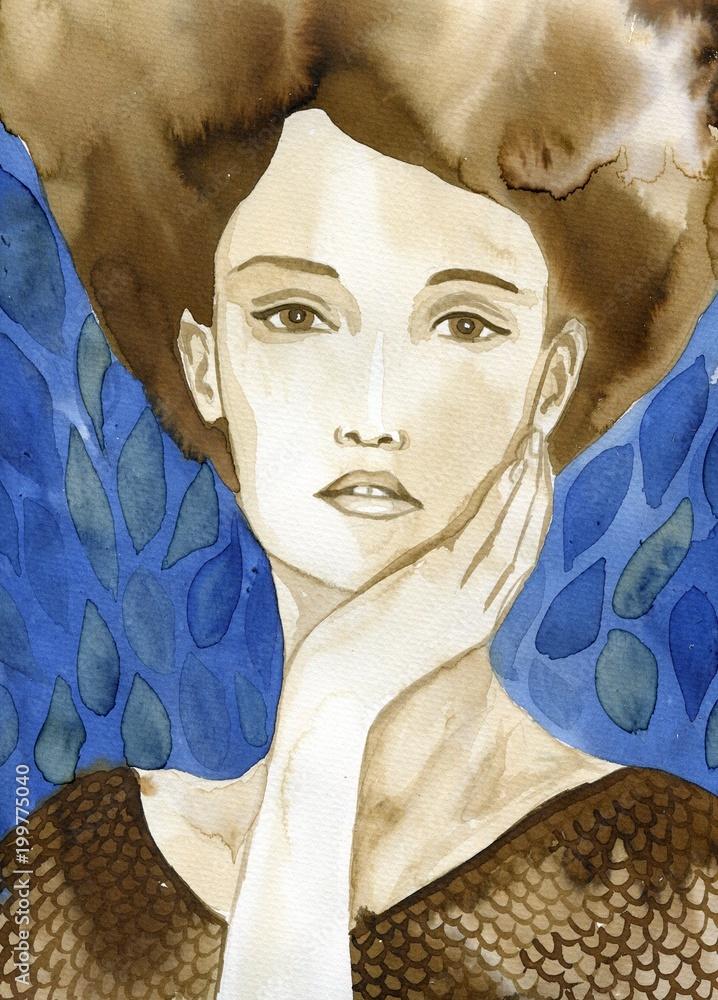 Watecolor portrait of a woman.