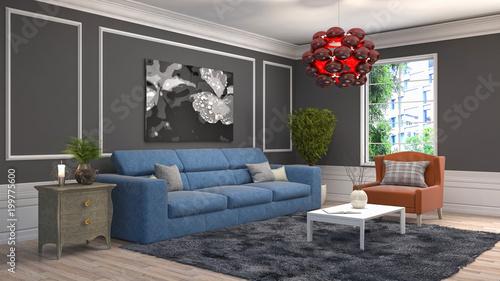 Fototapety, obrazy: Interior living room. 3d illustration