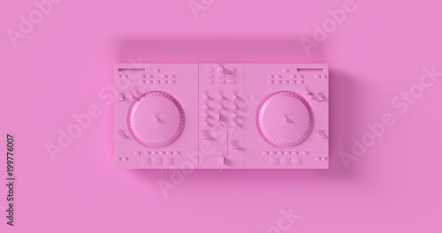 Pink  DJ Decks 3d illustration Tablou Canvas