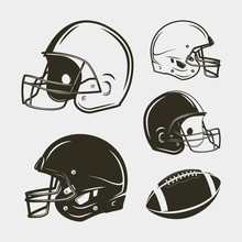 Set Of American Football Equipment And Gear. Helmets And Ball. Vector Illustration