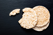 Food Concept Rice Cracker Oe Rice Cake On Black Slate Stone Plate With Copy Space