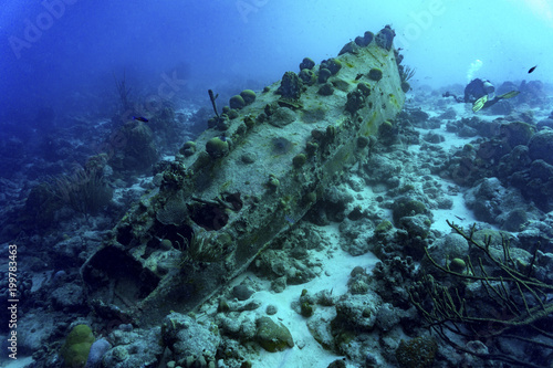 Foto op Canvas Schipbreuk Sunken ship with diver