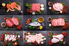 Collage Of Various Fresh Meat,...