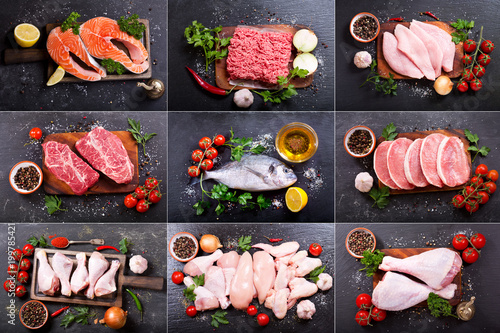 collage of various fresh meat, chicken and fish