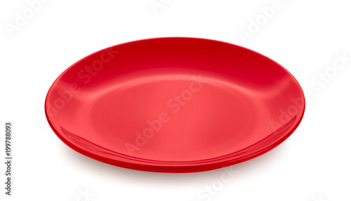 red dish on white background