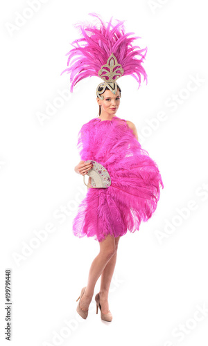 Garden Poster Carnaval Beautiful girl in carnival costume with rhinestones and pink feathers on white background.