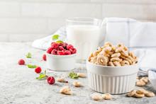 Healthy Breakfast Ingredients. Breakfast Cereal Corn Rings, Milk Or Yogurt Glass, Raspberries And Mint On Grey Stone Background, Copy Space