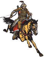 Mongolian Archer Warrior On A Horseback Riding A Pony Horse In The Gallop And Holding A Bow .Medieval Time Of Genghis Khan . Isolated Vector Illustration