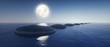 Steine im See bei Mondlicht