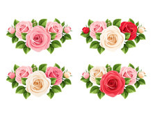 Vector Set Of Red, Pink And Wh...