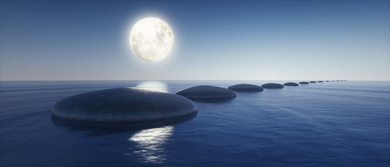 Fototapeta na wymiar Steine im See bei Mondlicht