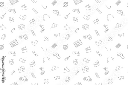 Fotografia  Vector hobby pattern. Hobby seamless background