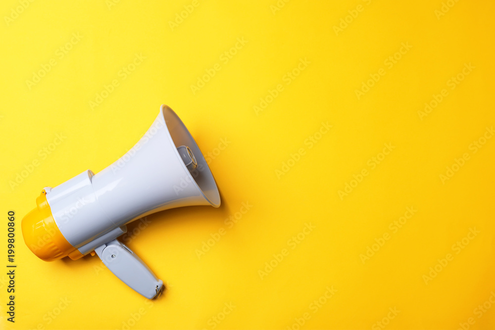Fototapety, obrazy: Electronic megaphone on color background