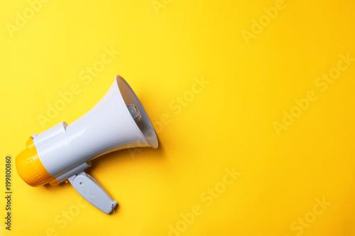 Fotografia Electronic megaphone on color background