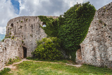 Green Ivy Wall On Ancient Fortress Ruins Of Old Bar Antique Town, Stari Bar, Montenegro.