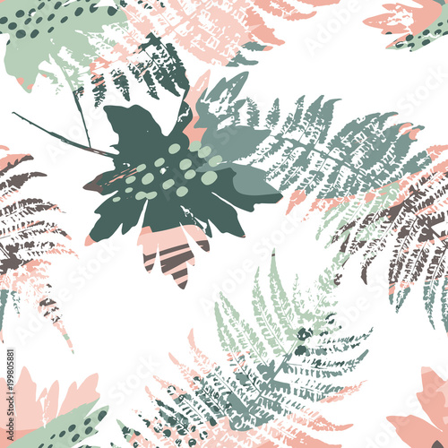 Photo sur Toile Empreintes Graphiques Abstract seamless pattern with leaves.