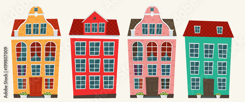 Set of european colorful old houses Canvas Print