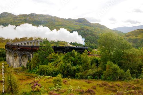 Fototapeta An old train on a mountain valley. Steam comes from the pipe. Scotland. obraz na płótnie