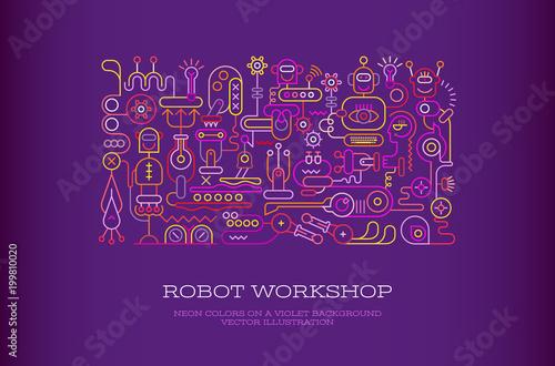 Staande foto Abstractie Art Robot Workshop vector banner