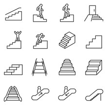 Staircase Icons Set. Linear St...