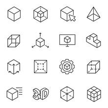 3D Modeling Icon Set, 3-dimens...