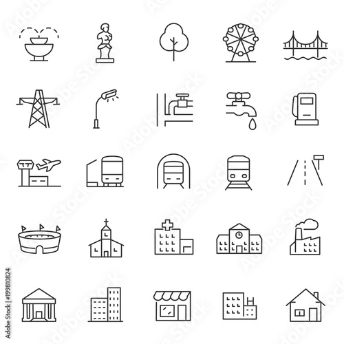 Fotografía  infrastructure and city elements icon set