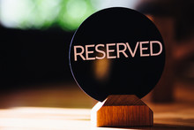 Reserved Sign On Restaurant Ta...
