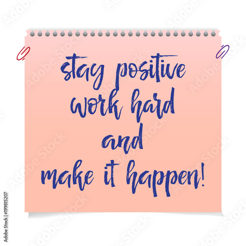 Photo  Note paper with motivation text stop wishing start doing