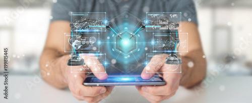 Businessman using robotics arms with digital screen 3D rendering
