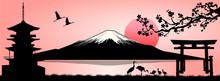 Landscape, Mount Fuji. Silhouette Fuji Mountain At Sunset. Mount Fuji On A Pink Background