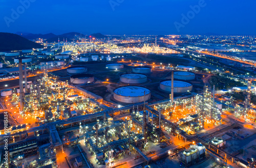 Aluminium Prints Industrial building Aerial view of twilight of oil refinery ,Shot from drone of Oil refinery and Petrochemical plant at dusk , Bangkok, Thailand.