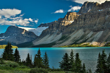 Scenic Columbia Icefield Parkway Along Bow Lake, Banff National Park In Canada