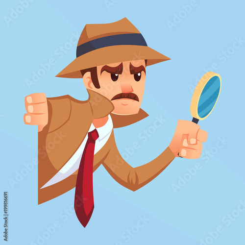 Photo Noir detective with magnifying glass peeking out the corner cartoon flat design