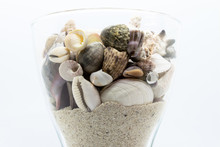 Glass Filled With Seashells, Corals And Beach Sand In White Background