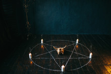 Pentagram Circle With Candles ...
